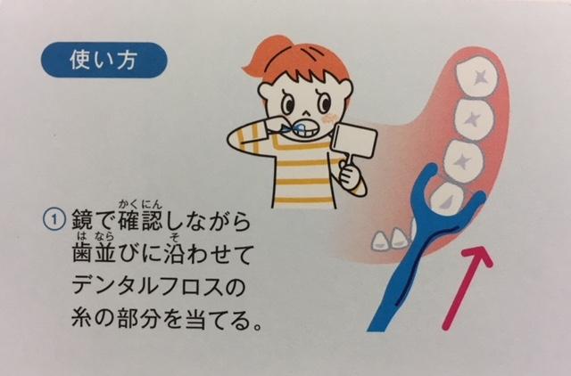 デンタルフロスの正しい使い方を(小学生向け)